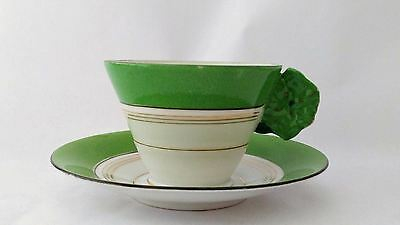 Unmarked Handpainted Green Flower Handle Cup & Saucer Set With Gold Bands Japan