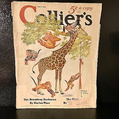 1935 Collier's Cover by Lawson Wood Giraffe Monkey Magazine Art