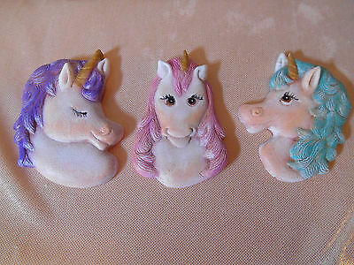 Handcrafted Set Of 3 Ceramic Unicorn Horse Refrigerator Magnets