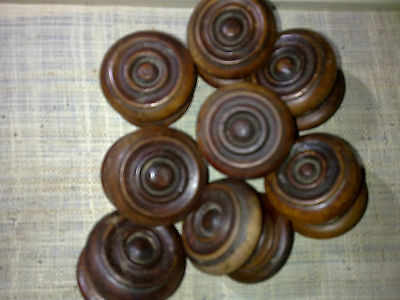 wooden knobs x 8, drawer handles, 53 mm, antique, reclaimed (Lot A)