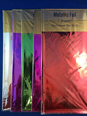 Metallic foil sheets XL 50 x 75cm various colours scrap booking wrapping paper