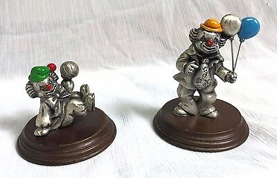 Vintage Set of 2 George Good Pewter Circus Clowns with Balloons and Ball