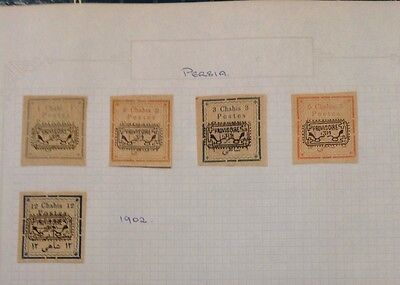 1902 - Persian - 5 Stamps - Mint Hinged