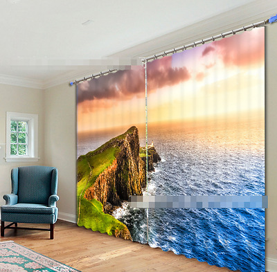 3D Island Sea 7 Blockout Photo Curtain Printing Curtains Drapes Fabric Window CA