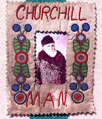 Early 1900's Metis Cree Indian Beaded Deer Hide Picture Frame Churchill Man.