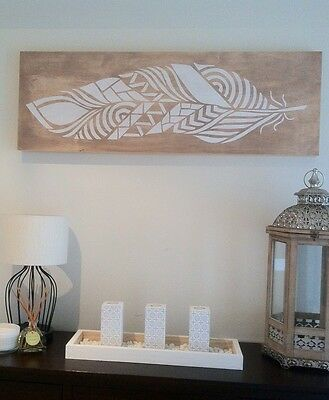 Timber Wall Art single Panel - White Zen Decorative Feather