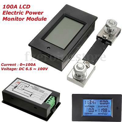 DC 100A LCD Digital Voltage Current KWh Watt Power Energy Monitor Meter + Shunt