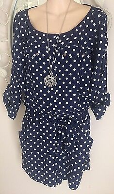 Ladies Navy Polka Dot Short Set Outfit Size M EC