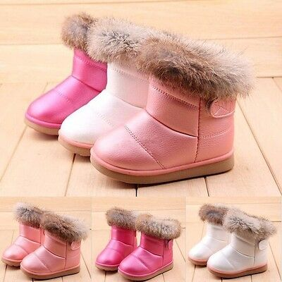 Baby Kid Girl Snow Boots Toddler Warm Fur Winter Leather Shoes 3 Colors 10 Sizes