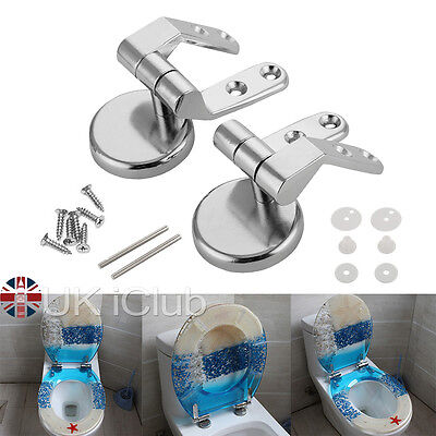 Replacement Toilet Seat Hinge Set Chrome Hinges With Fittings For Wood Finished