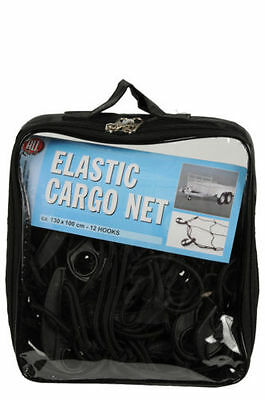 130 x 100 cm HEAVY DUTY LARGE ELASTICATED CARGO NET COVER 12 HOOKS SECURE CORD