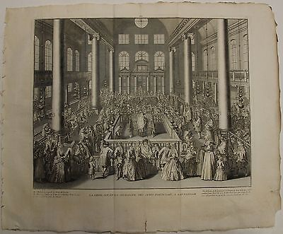 Amsterdam Portuguese Synagogue 1789 Bernard Picart Antique Copper Engraved Plate