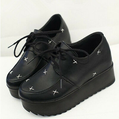 New Women Thick Platform Lady Flat Wedge Goth Punk Creepers Shoes Boots Lace Up