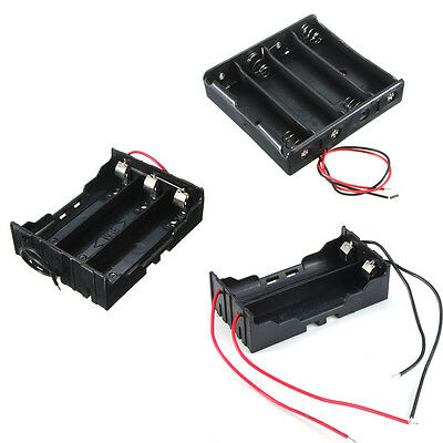 2/3/4x 18650 3.7V Battery Holder Case Storage Box w/ Wire Lead Snap On Connector