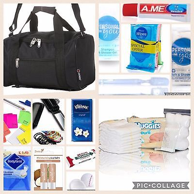 Plain Black pre-packed hospital/maternity bag holdall Essentials for Mum & Baby
