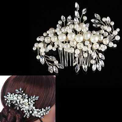 Bridal Wedding Hair Comb Clip Pearls Crystal Bridesmaid Headdress Rhinestone