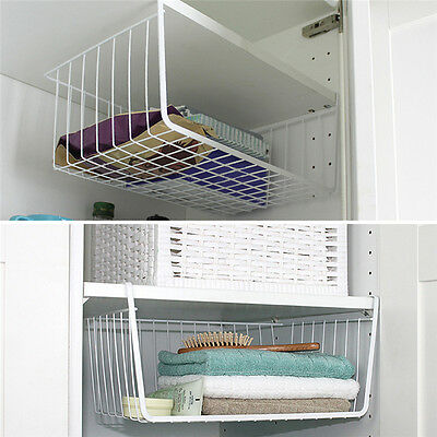 Closet Cabinet Hanging Drawer Metal Wire Storage Basket Home Kitchen Organizer