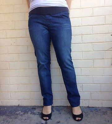 Soon Denim Maternity sz 14 Blue Straight Leg Stretch Waist Jeans NEW w Tags