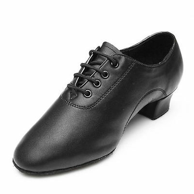 Men Black Leather Mid Heel Latin Waltz Tango Salsa Ballroom Lace Up Dance shoes