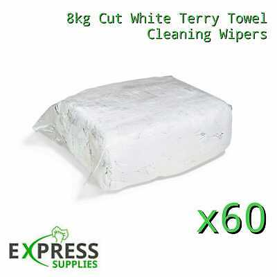 60 x 8KG WHITE TERRY TOWELLING CLEANING RAGS / WIPERS PRESS PACKED BAG