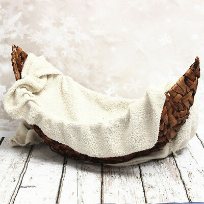 Brown Crescent Basket Creative Woven Handmade Photography Props For Newborn Baby