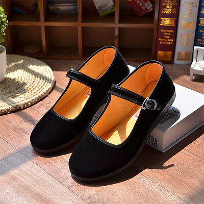 Ladies Chinese Mary Jane Shoes Ballerina Velvet Fabric Cotton Sole Flats Size2-6