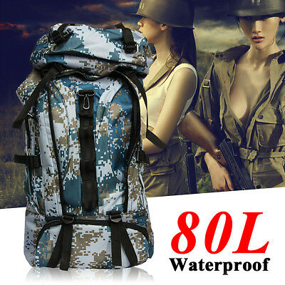 80L Durable Waterproof Sport Travel bag Hiking Camping Luggage Backpack Military