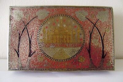 Box Engraved Brass Old Handcrafted Vintage Antique Enamel Indian Silver Plate