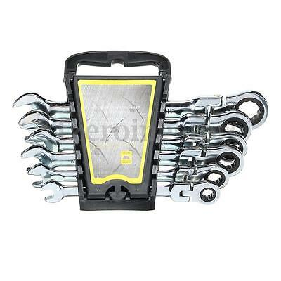 6pcs FLEXIBLE HEAD Gear Wrench Set 8-17MM Spanner Movable Ratchet Repairing Tool