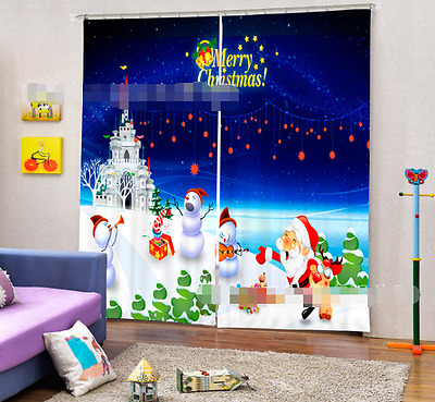 3D Xmas Snowman Blockout Photo Curtain Printing Curtains Drapes Fabric Window CA