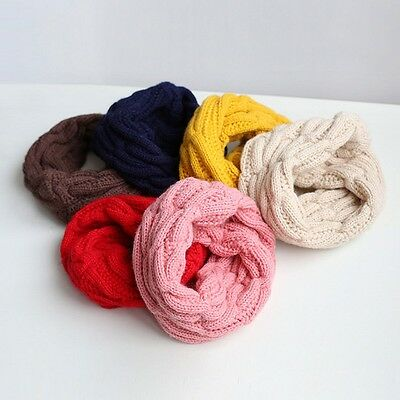 Kids Baby Boy Girl Winter Warm  Braided Knitting Scarf Candy Colors Scarf Snood