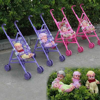 Baby Buggy Stroller Toy Girl Child Foldable Pushchair Pram Kid Trolley Doll Gift