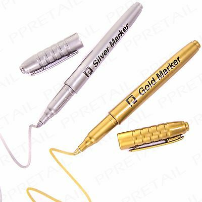 GOLD & SILVER MARKER PEN SET 2Pc - HIGH QUALITY BULLET TIP Fine Point Card Craft