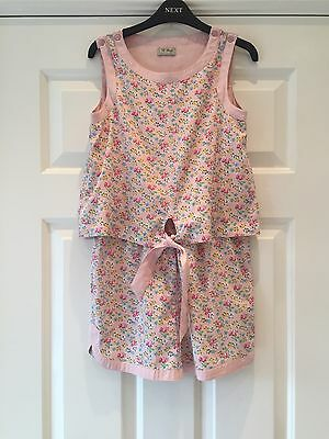 NEXT Girls Ditsy Pink Jumpsuit Shorts Age 10