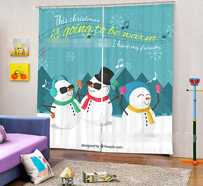 3D Snowman Note Blockout Photo Curtain Printing Curtains Drapes Fabric Window CA