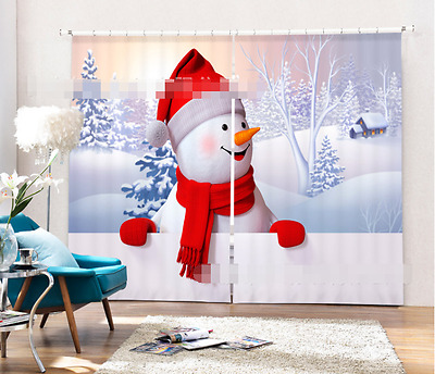 3D Snowman Nose Blockout Photo Curtain Printing Curtains Drapes Fabric Window CA