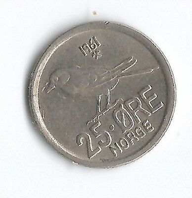 1961 Norway 25 Ore Norge coin - circulated - UK post free