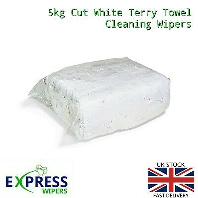 Premium Quality 5Kg White Terry Towelling Cleaning Rags/Wipers Press Packed Bag