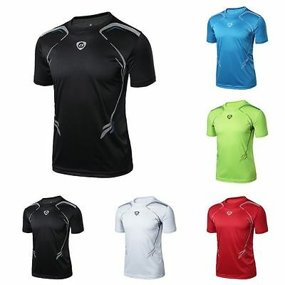 Mens Gym Sport Running Clothes T-Shirt Fitness Muscle Quick Dry Stretch Tops Tee