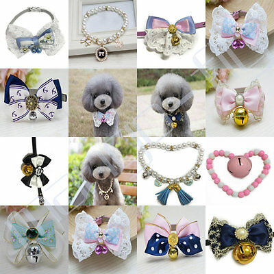 Various Adjustable Pet Dog Cat PU Leather Collar Bowknot Pearl Buckle Neck Strap