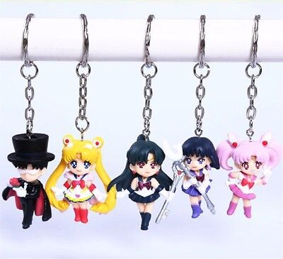 Sailor Moon Mars Mercury Jupiter Venus Tuxedo KeyRing Figures Set of 5pcs US