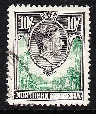 Northern Rhodesia 1938 10/- Green & Black Sg 44 Fine Used.