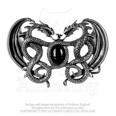 NEW ALCHEMY GOTHIC GRAMILION BELT BUCKLE. Double Dragon Dueling Dragons Stunning