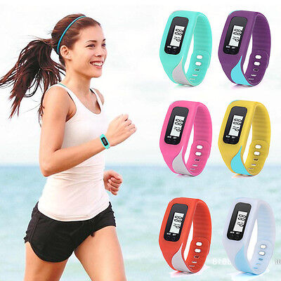LCD PEDOMETER WRIST WATCH new SPORT CALORIE STEP WALKING COUNTER FITNESS  W27