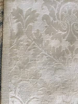 """Vintage1950 Damask Fabric Silk Cotton White Old Stock 3 Yard 4 X45"""" Excellent"""