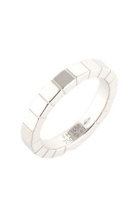 Cartier 18 Kt White Gold Band Laniere Ring Size 5 AC8358 MHL