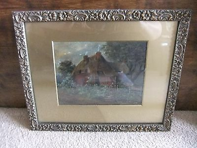 Antique Oil Painting of Cottage in Gilt Wooden Frame - artist unknown