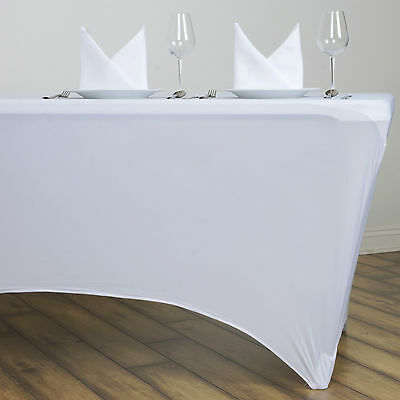 White 6 ft RECTANGLE SPANDEX STRETCH TABLE COVER Fitted Tablecloth Wedding Party