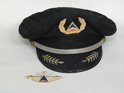 Vintage Delta Airlines Captain Pilot Hat And Wings Pin