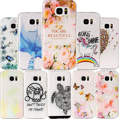 Back Pattern Soft TPU Silicone Ultra Thin Case Cover Skin For Samsung Huawei